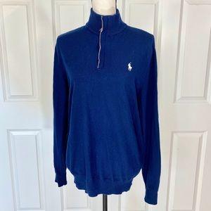 POLO GOLF Ralph Lauren Blue Half Zip Wool Sweater